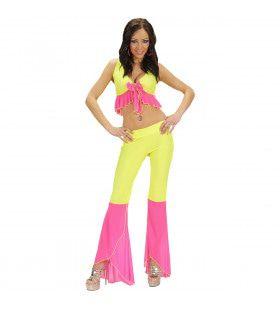 Samba Top En Broek Neon Geel-Rose Colors Kostuum Vrouw