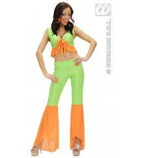 Samba Top En Broek Neon Groen-Oranje Colors Kostuum Vrouw