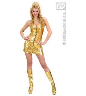 Gouden Jurk Ritssluiting Gold Digger Kostuum Vrouw