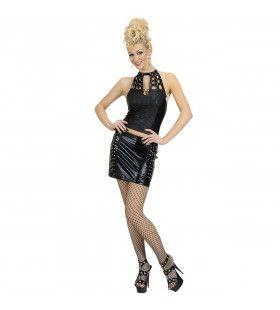 Zwarte Rok En Topje Bespijkerd Lacquer Lady Kostuum Vrouw