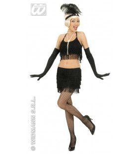 Twintiger Jaren Rok En Top Zwart Met Franjes Kostuum Vrouw