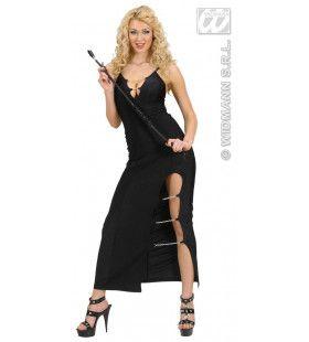 Zwarte Lange Jurk Met Kettingen Touch Of Class Kostuum Vrouw