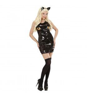 Paillettenjurk Kat Puss In Da Boots Kostuum Vrouw