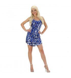 Paillettenjurk Blauw / Zilver Ms Society Kostuum Vrouw