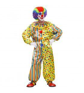 Veelkleurige Clown Jumsuit Volwassen Kostuum
