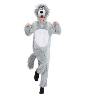 Full-Body Pluche Wolf Volwassen Kostuum