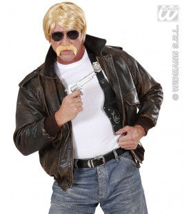 Pruik, Undercover Agent Blond Met Snor En Bril