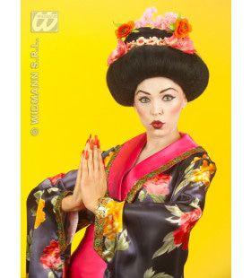 Pruik, Geisha Met Bloem Luxe