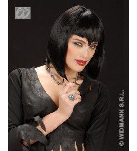 Pruik, Gothic Vamp Zwart