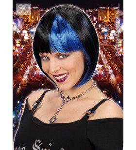 Pruik, Zoey Zwart Met Blauwe Highlights