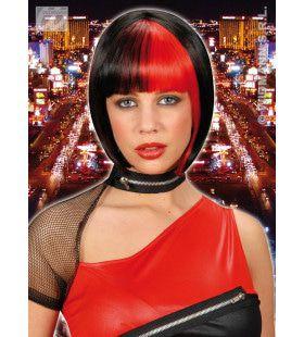 Pruik, Zoey Zwart Met Rode Highlights