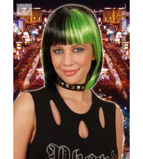 Pruik, Zoey Zwart Met Groene Highlights
