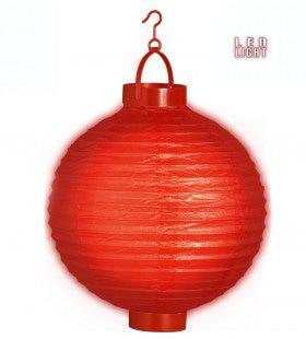 Feestelijke Lampion Met Licht 30 Centimeter Rood