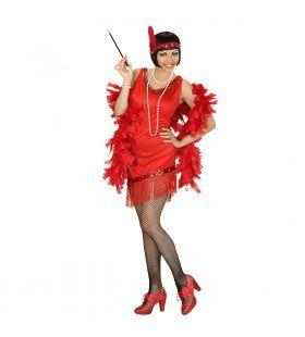 Detroit Flapper Rood Vrouw Kostuum