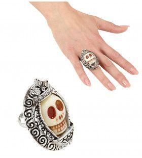 Horror Ring Zilver Met Witte Schedel