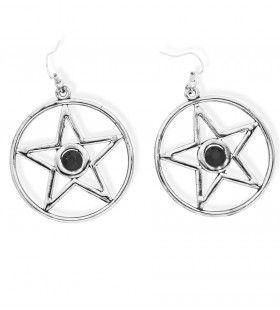 Pentagram Satanische Oorringen Met Zwarte Steen