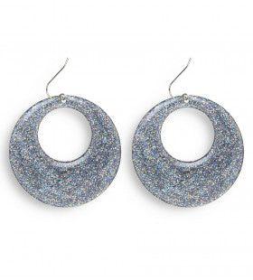 70s-80s Zilver Glitter Oorbellen