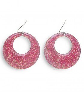 70s-80s Rose Glitter Oorbellen