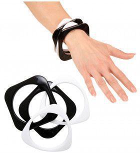 70er Jaren Armband Disco Zwart / Wit