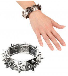 Punk Armband Zilver / Zwart Met Nagels