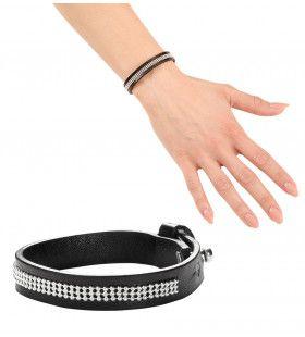 Punk Armband Zwart Leer Met Nagels