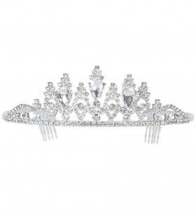 Beauty Queen Luxe Zilveren Tiara Strass
