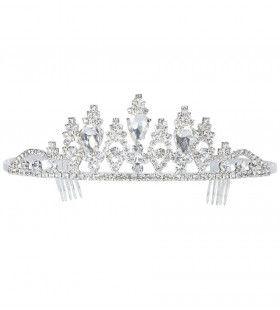 Beauty Queen Luxe Zilveren Tiara Strass