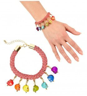 Happy Halloween Koord Armband Met 7 Gekleurde Schedels