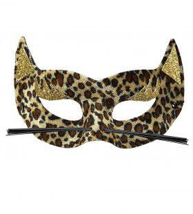 Sexy Oogmasker Fluweel Luipaard Met Gouden Glitters