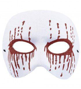 Masker Psychopaat Wit Met Bloedende Ogen Bloody Pierrot