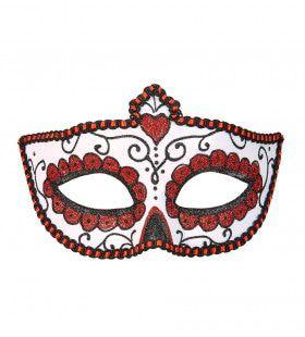 Mexicaans Oogmasker Dia De Los Muertos Zwart & Rood