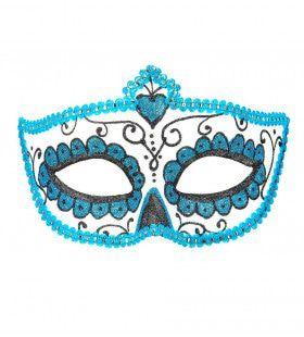 Mexicaans Oogmasker Dia De Los Muertos Zwart & Azuur