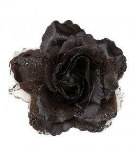 Tropische Haarclip Zwarte Roos Met Glitter