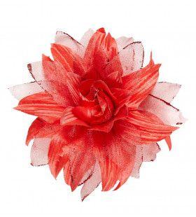 Tropische Haarclip Bloem Met Glitter, Rood