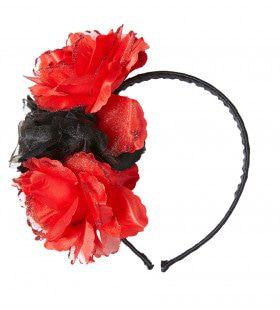 Flamenca Hoofdband Rood / Zwarte Roos Met Glitter