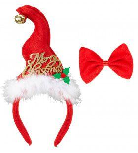 Grappige Kerst Mini Santa Mutsje Met Belletjes En Strikje