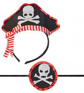 Snelle Set Mini Piratenhoedje Met Ooglapje
