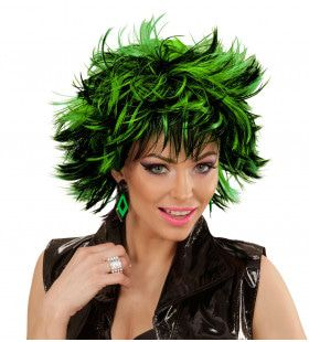 Punk Chick Pruik, Steamy Zwart / Green