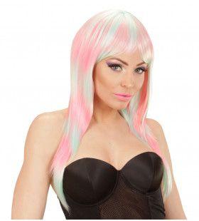 Fantast Chick Pruik, Melange Fashion Lang Roze / Turkoois
