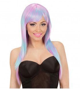 Fantast Chick Pruik, Melange Fashion Lang Blauw / Paars