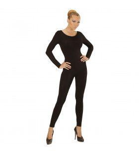 Unicolor Body Volwassen, Lang, Zwart Vrouw Kostuum