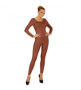 Unicolor Body Volwassen, Lang, Bruin Vrouw Kostuum