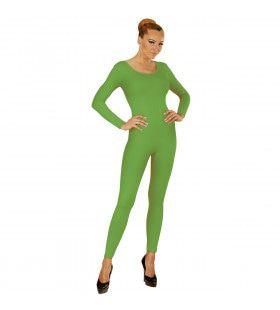 Lange Groene Unicolor Body Volwassen Vrouw Kostuum
