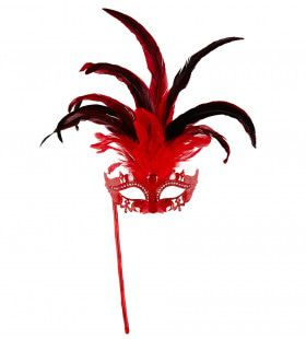 Gedistingeerd Oogmasker Met Stokje, Rood Luxe Versie