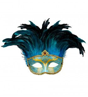 Veren Masker Countess Met Glitters En Veren, Blauw