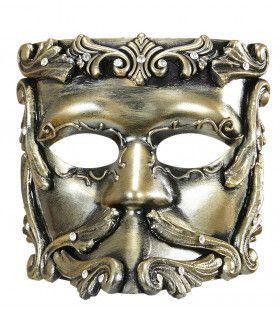 Rococo Luxe Barok Casanova Masker In Brons Met Strass