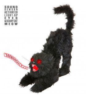 Zwarte Kat Met Lichtgevende Ogen En Geluid, 60cm Lichtgevend