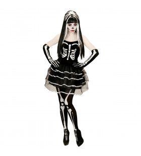 Gothic Skelet Meisje Vrouw Kostuum