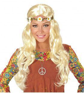 Curly Carla Pruik, Hippie / Middeleeuwen Blond Met Bloemen Hoofdband