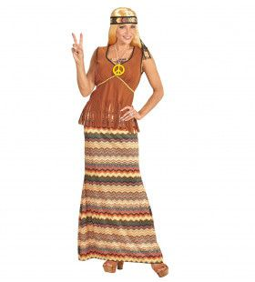 Hippie Dame Long Davy Vrouw Kostuum